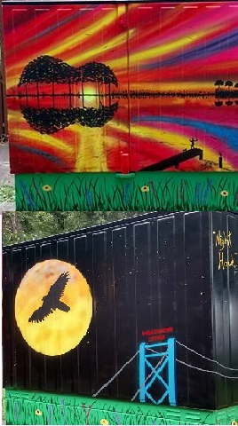 Bell Box Mural - Rythm of Nature & Night Hawk