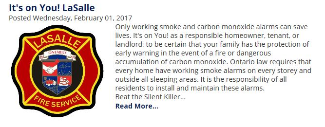Link to LaSalle article on Fire Safety and Carbon Monoxide