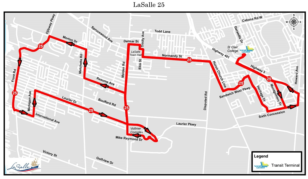 LaSalle Transit Route 25 Map