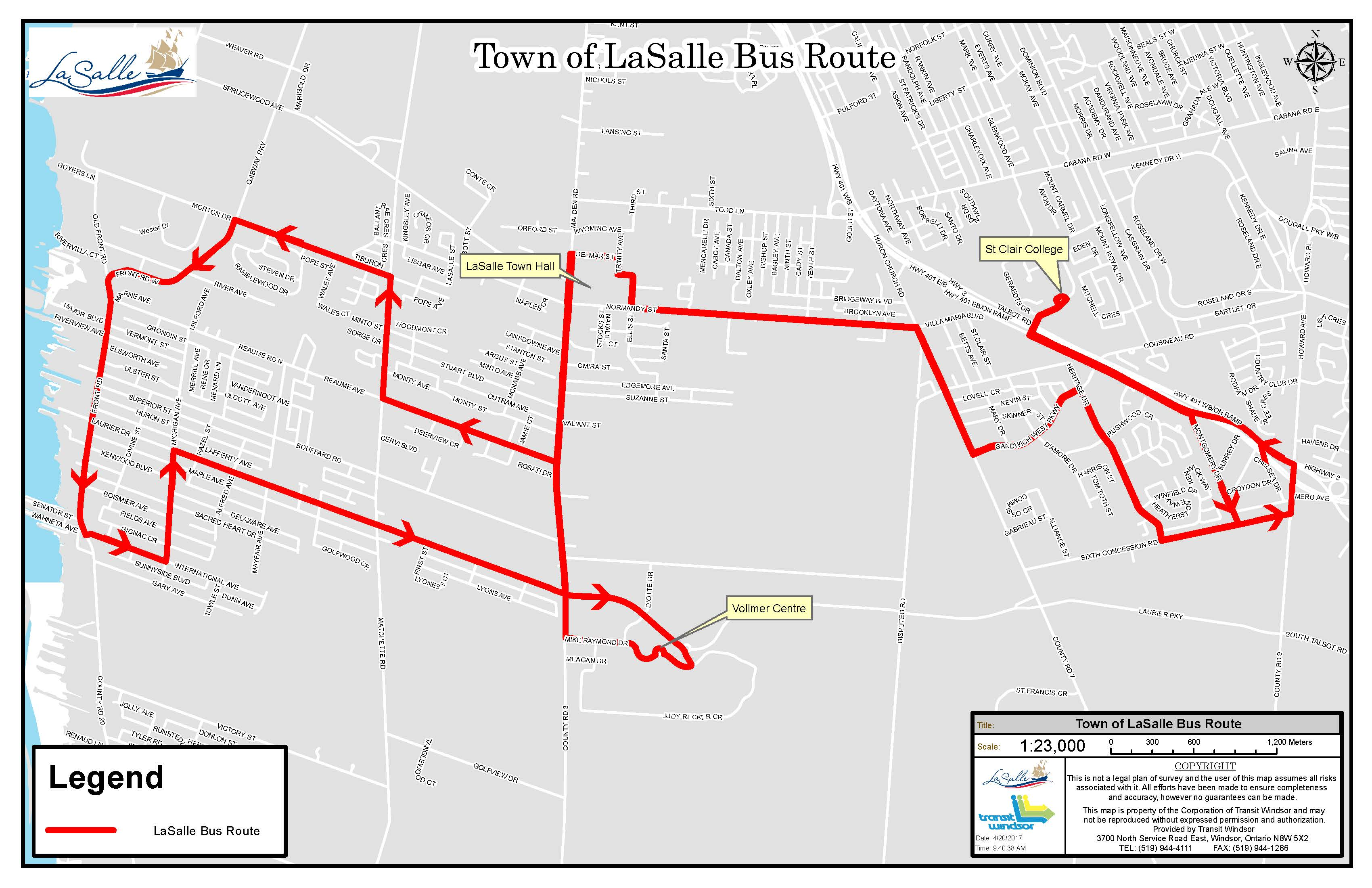 LaSalle Transit Route Map