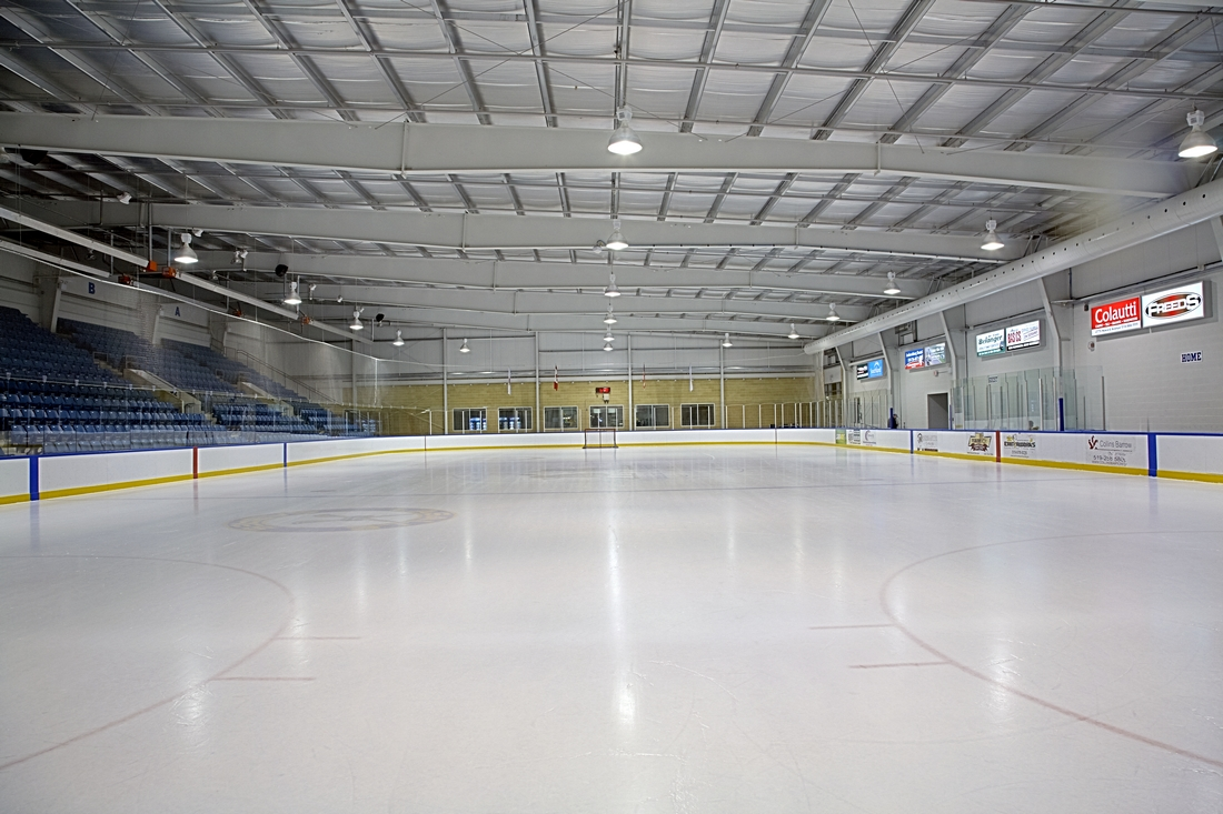 Ice pad inside an arena.