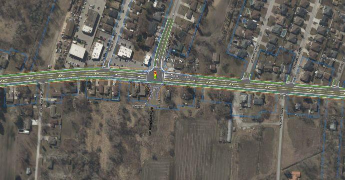 Aerial photo of Malden Road, LaSalle