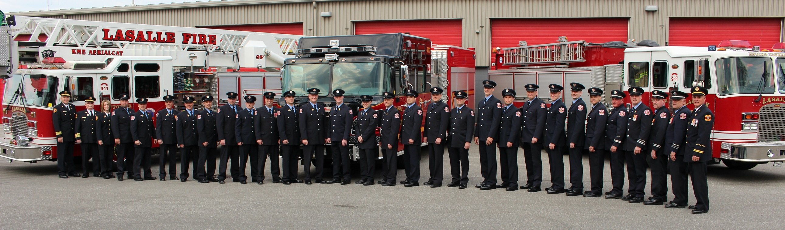 Group photo of all the LaSalle Fire Service Team