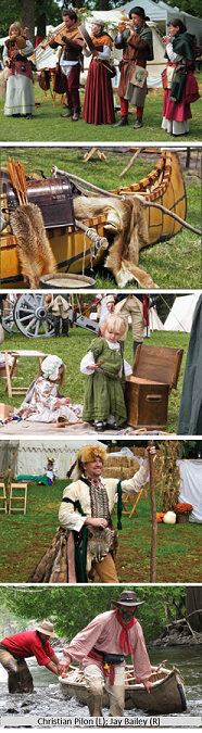 Rendez-vous Voyageur, five pictures of re-enactments from the 1600s-1700s.