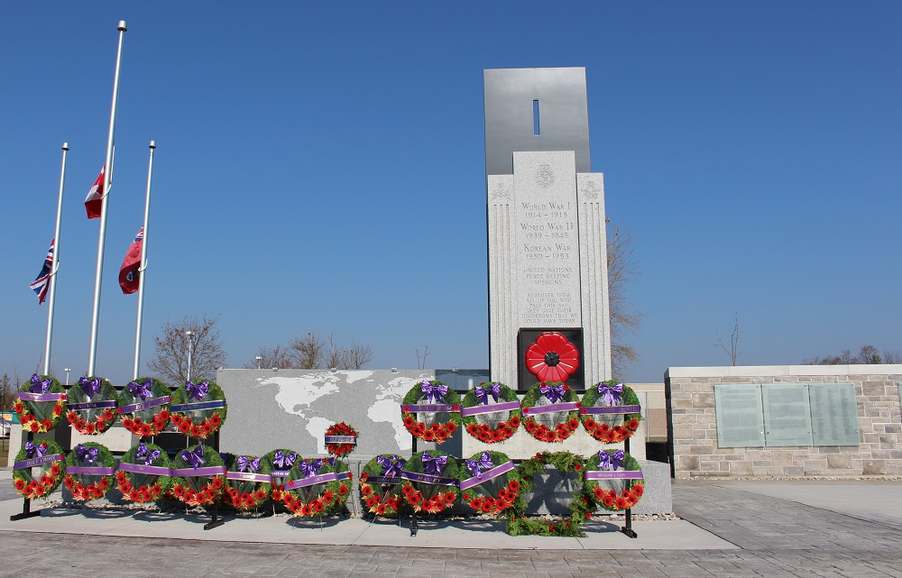 LaSalle Cenotaph with wreaths