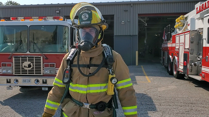 firefighter in bunker gear